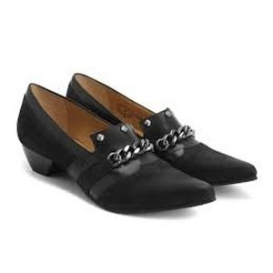 John Fluevog Truths Beatrix Black Loafer Chain 6.5